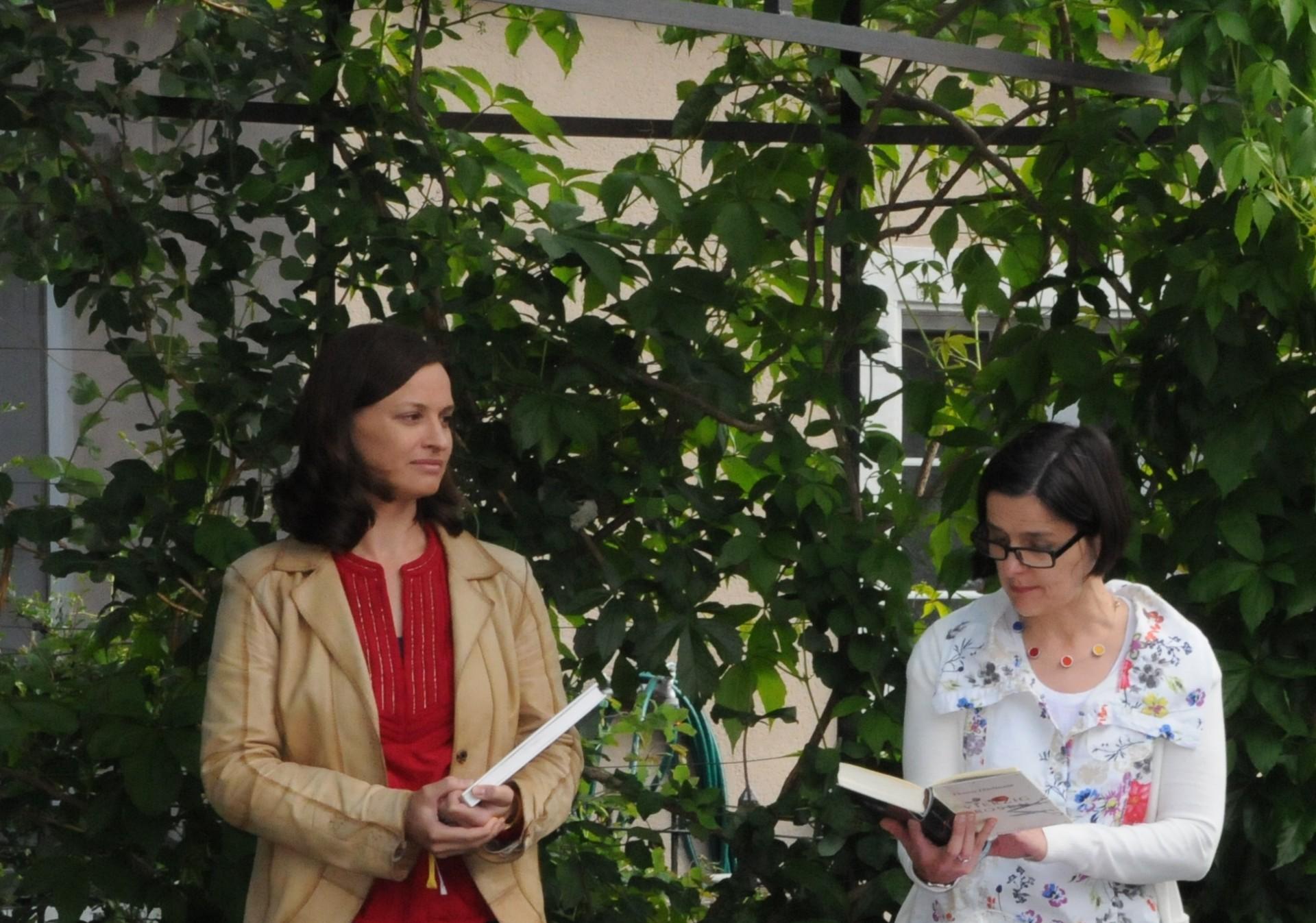 Bücher-Koffer im Rosengarten